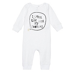 bluezoo - Babies' white 'I still live with my parents' sleepsuit