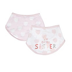bluezoo - Pack of two baby girls' pink 'Little sister' print bibs