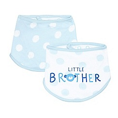 bluezoo - Pack of two boys' blue 'Little brother' print bibs
