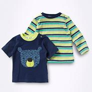 Babies set of two blue bear striped t-shirts