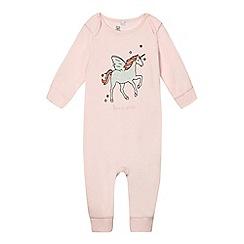 bluezoo - Baby girls' pink glittery unicorn sleepsuit