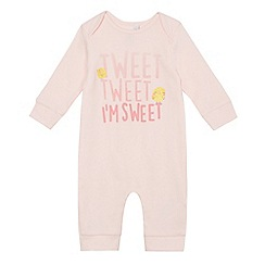 bluezoo - Baby girls' pink 'Tweet tweet' print sleepsuit