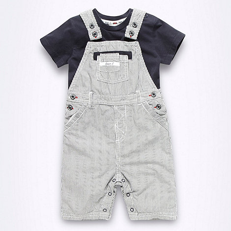 J by Jasper Conran - Designer Babies navy dungarees and bodysuit set