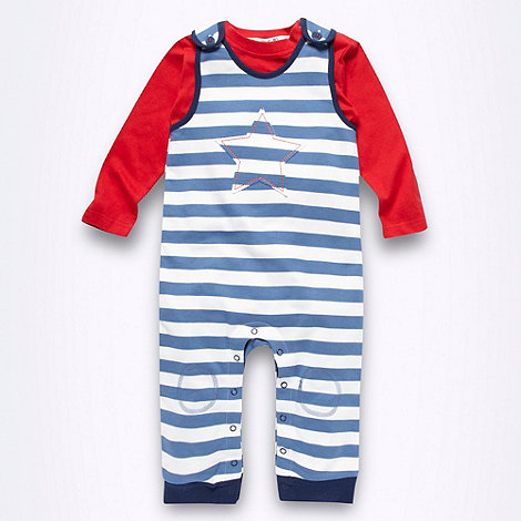 bluezoo - Babies white striped dungarees and red long sleeved top