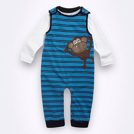 bluezoo - Babies blue appliqued monkey soft dungaree set