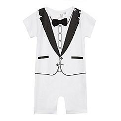 bluezoo - Baby boys' white tuxedo print romper suit
