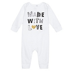 bluezoo - Baby girls' white 'Made With Love' print sleepsuit