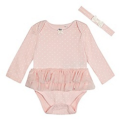 bluezoo - Baby girls' light pink tutu bodysuit and headband set