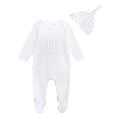 bluezoo - Babies white polka dot print 'My First Eid' sleepsuit and hat set