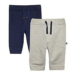 bluezoo - Babies pack of two grey and navy jogging bottoms