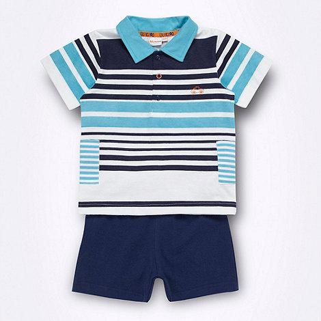 bluezoo - Babies blue polo shirt and shorts set