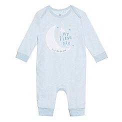 bluezoo - Baby boys' light blue fine striped 'My First Eid' sleepsuit