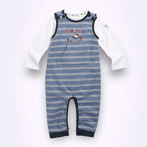 J by Jasper Conran - Designer Babies blue striped soft dungaree set