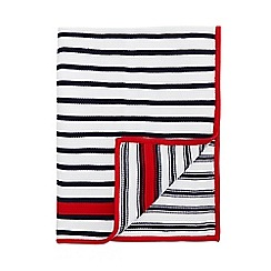 J by Jasper Conran - White and navy striped knitted blanket