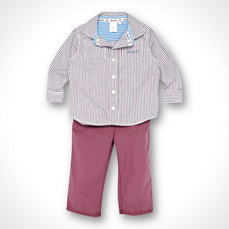 J by Jasper Conran - Designer baby's dark red striped shirt and jeans set