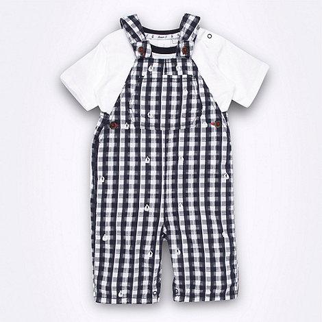 J by Jasper Conran - Designer Babies navy gingham bibshorts set