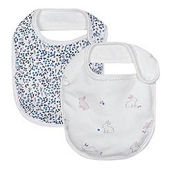 J by Jasper Conran - Baby girls' pack of two white print bibs