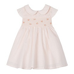 J by Jasper Conran - Baby girls' light pink rose embroidered dress and knickers set