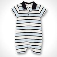 Designer Babies white striped jersey romper suit