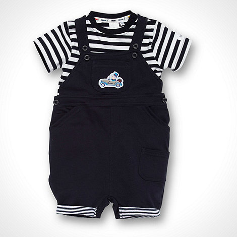 J by Jasper Conran - Designer Babies navy striped t-shirt and short dungarees set