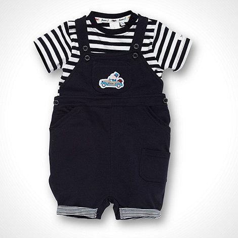 J by Jasper Conran - Designer Babies navy striped t-shirt and short dungarees set