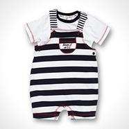 Designer Babies navy t-shirt and striped short dungarees set