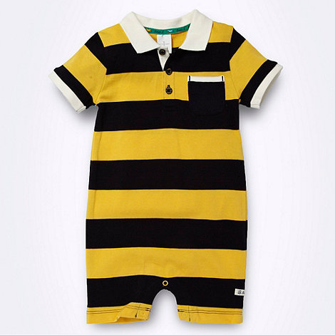 J by Jasper Conran - Designer Babies navy and yellow striped polo romper suit