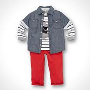 Designer Babies red shirt, top and trousers set