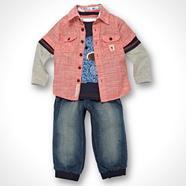 Designer Babies coral shirt and jeans set