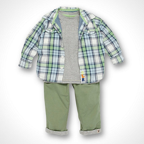RJR.John Rocha - Designer Babies green checked shirt top and chinos set
