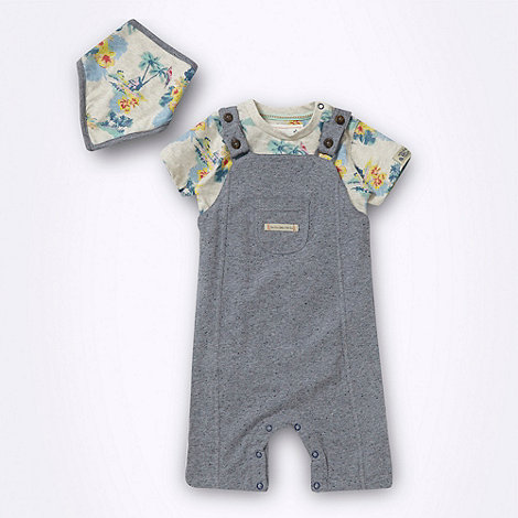 RJR.John Rocha - Designer babies grey dungarees bodysuit and dribble bib set