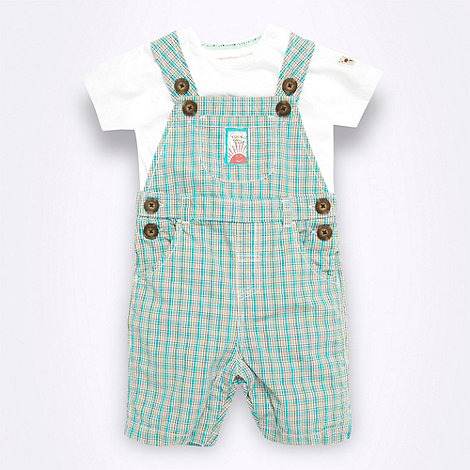 RJR.John Rocha - Designer Babies green checked dungaree set