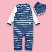 Designer Babies blue striped dungaree set