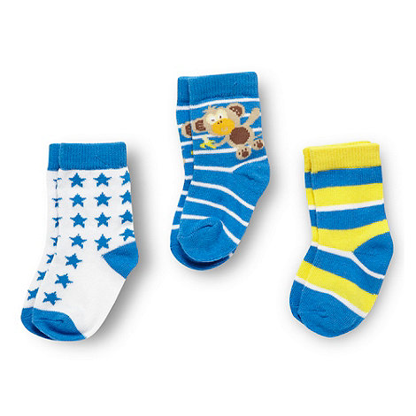 bluezoo - Babies pack of three blue striped and star patterned socks