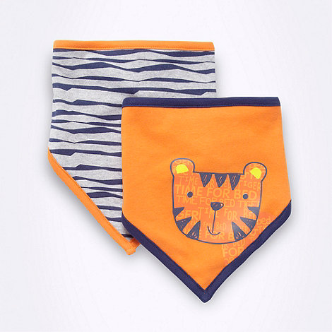 bluezoo - Babies pack of two orange and grey tiger bibs