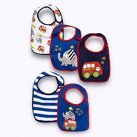 bluezoo - Babies pack of five +Toot toot+ slogan printed bibs
