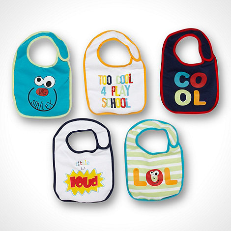 bluezoo - Babies pack of five white navy and turquoise slogan bibs