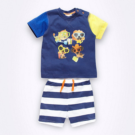 bluezoo - Babies navy blue t-shirt and shorts set