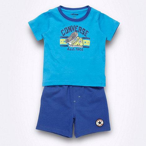 Converse - Boy+s blue logo t-shirt and shorts set