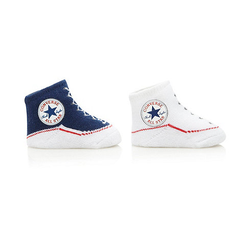 Converse - Babies pack of two white and navy trainer booties