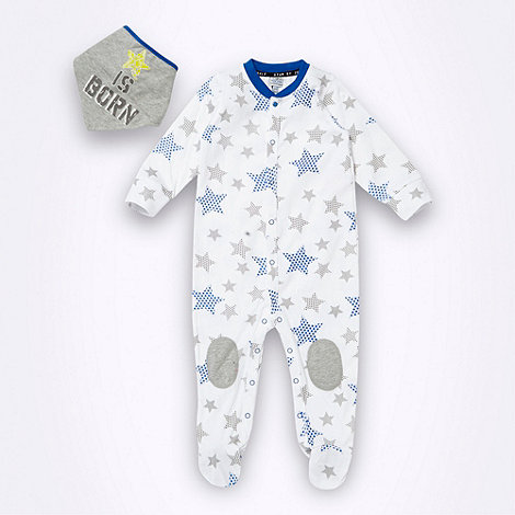 Star by Julien Macdonald - Designer babies white star printed sleepsuit and bib set