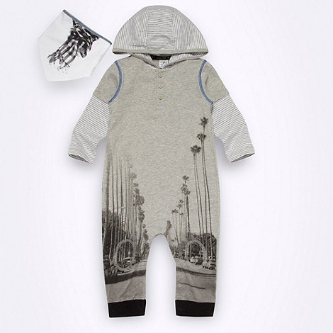 Star by Julien Macdonald - Designer Babies grey photographic romper suit and bib set