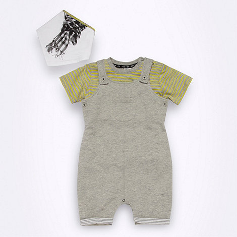 Star by Julien Macdonald - Designer Babies grey dungarees t-shirt and bib set