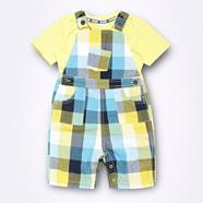 Babies yellow checked dungarees and plain t-shirt