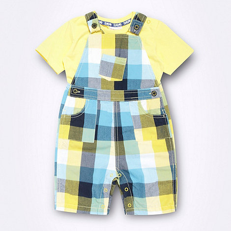 bluezoo - Babies yellow checked dungarees and plain t-shirt