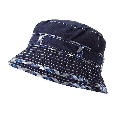 J by Jasper Conran - Designer Babies navy checked trim bucket hat