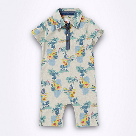 RJR.John Rocha - Designer babies grey tropical patterned romper suit