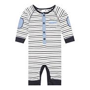 Designer Babies blue striped footless baby grow