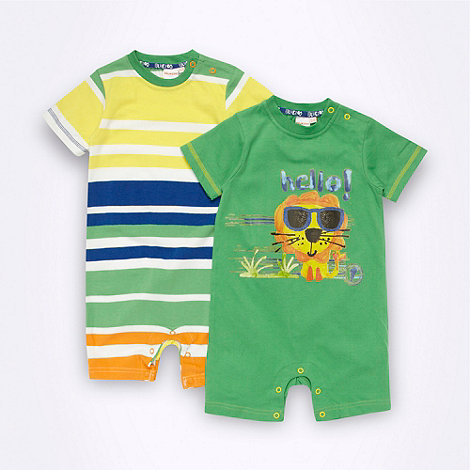 bluezoo - Babies pack of two green patterned romper suits