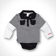 Designer Babies navy striped two in one polo shirt and bodysuit